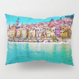 French Riviera, Cote d'Azur, France Coastline Landscape by Jeanpaul Ferro Pillow Sham