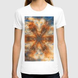 Surreal butterflies on corrugated iron mandala T-shirt