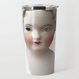 Mentalembellisher Mad-Eyed Victorian Bisque Doll Head Travel Mug
