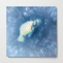 Psychedelic Space Turtle Metal Print