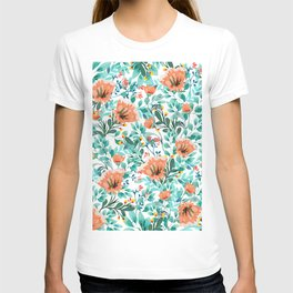 Tangerine Dreams, Orange & Mint Botanical Jungle Watercolor Painting, Colorful Plants Floral Summer T-shirt
