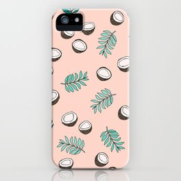 Little coconut garden summer surf palm leaves pink iPhone Case