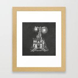 Believe in Magic Castle Chalk on Chalkboard design Framed Art Print