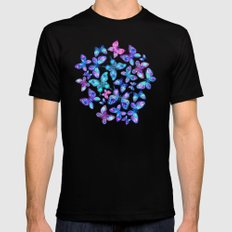 Watercolor Fruit Patterned Butterflies - aqua and sapphire Black MEDIUM Mens Fitted Tee