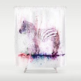 Watercolor Wash Zebra Shower Curtain