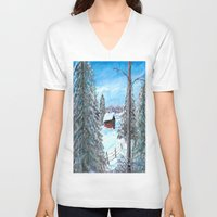 cabin V-neck T-shirts featuring Winter Cabin by Connie Campbell