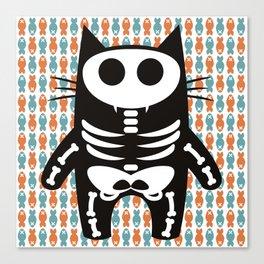 Meow Skeleton Canvas Print