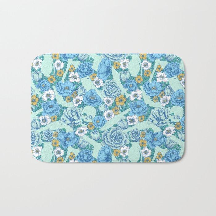 Weapon Floral-Blue Bath Mat