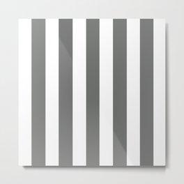 Nickel grey -  solid color - white vertical lines pattern Metal Print