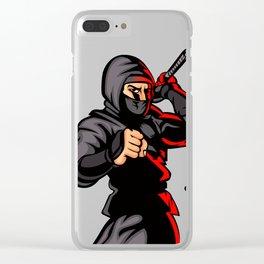 black ninja cartoon. Clear iPhone Case