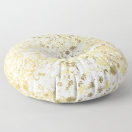 White and Gold Patina Style Design Floor Pillow