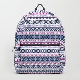 Aztec Stylized Pattern Blues Pinks Purples White Backpack