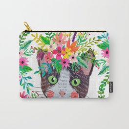 Cat with flowers Carry-All Pouch