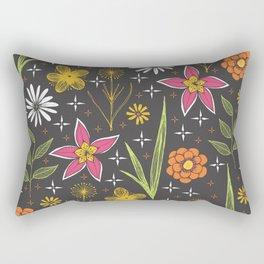 bright retro floral print Rectangular Pillow