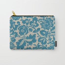 Retro Leaves on a Blue  Background Pattern cutest Carry-All Pouch