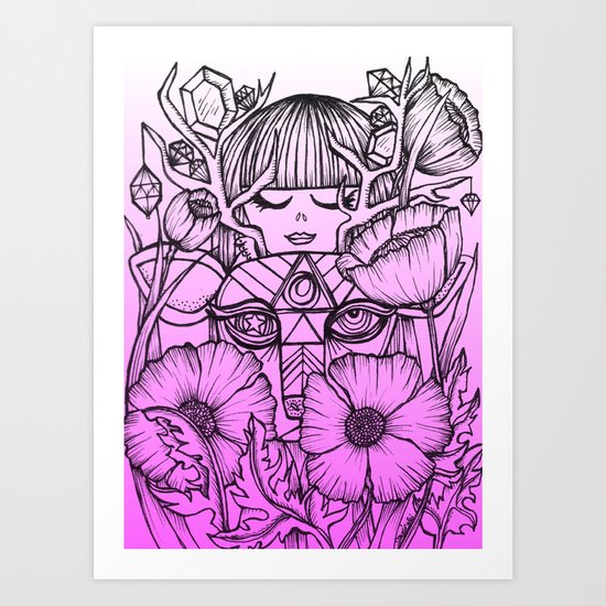 Charmed Life - Deer Girl Poppies - Purple Ombre Art Print