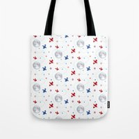 airplanes Tote Bags featuring Little Toy Airplanes on White by Art Tree Designs