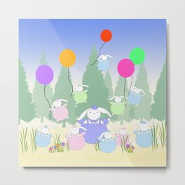 Fat Bunnies and Balloons Metal Print