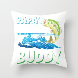Son and Father Fishing Buddy Fly Fisherman Dad Throw Pillow
