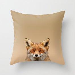 Zen Fox (Red Fox smiling) Throw Pillow