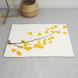 Gingko Biloba Leaves-Gingko Tree- Gingko leaf-Branch-Yellow Leaves-Japanese Travel photography Rug