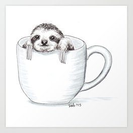 Sloth in a Cup Art Print