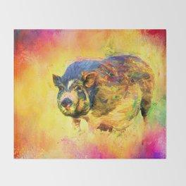 Jazzy Pig Colorful Animal Art by Jai Johnson Throw Blanket
