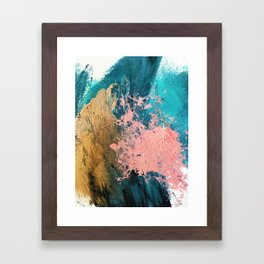 Coral Reef [1]: colorful abstract in blue, teal, gold, and pink Framed Art Print