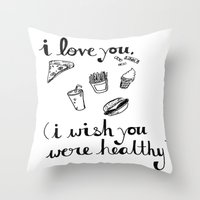 health Throw Pillows featuring Health Problems by Handwritten