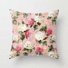 Vintage green pink white bohemian hortensia flowers Throw Pillow