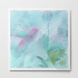 Hummingbird Selah - Aqua Metal Print