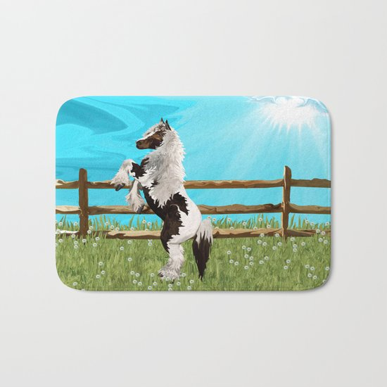 The Vanner Horse On a Heavenly Field of Daisies Bath Mat