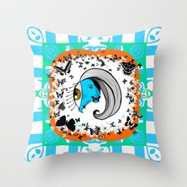 Silence of the Smurfs Throw Pillow