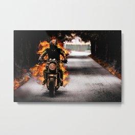 Badass Hellfire Biker Metal Print