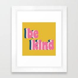 Be Kind Inspirational Anti-Bullying Typography Framed Art Print
