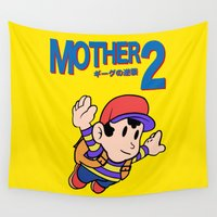 mario bros Wall Tapestries featuring Mother 2 / Earthbound / Super Mario Bros. 3 Style by Studio Momo╰༼ ಠ益ಠ ༽