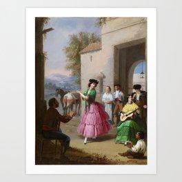 Manuel Cabral Aguado Bejarano 1827 - 1891, Cheering at the Gates of the Farm Art Print