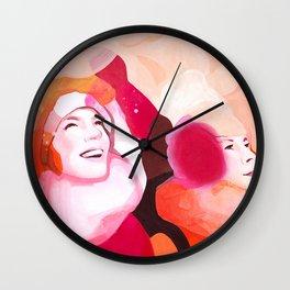 Sleigh ride, orange womens portret Wall Clock