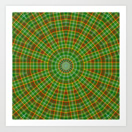 Mandala Green Red Yellow and White Art Print