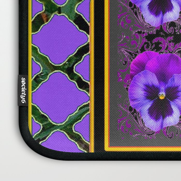 GARDEN OF PURPLE PANSY FLOWERS BLACK & TEAL PATTERNS Laptop Sleeve