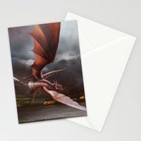 Smaug Burns Lake-Town Stationery Cards