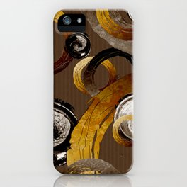 Big Dark Brass Yellow and Brown Rings and Circles iPhone Case