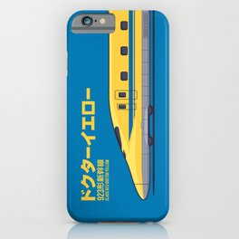 Doctor Yellow Class 923 Shinkansen Bullet Train Side Profile Japanese Text Blue iPhone Case