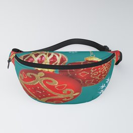 TEAL COLOR RED CHRISTMAS  ORNAMENTS &  POINSETTIAS FLOWER Fanny Pack