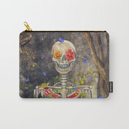 Blooming skeleton in the dark forest  with butterflies Carry-All Pouch
