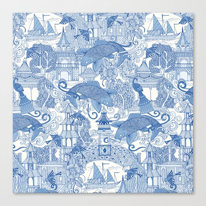 chinoiserie toile blue Leinwanddruck