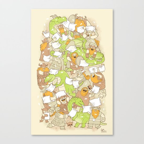 Vikings vs Dragons Canvas Print