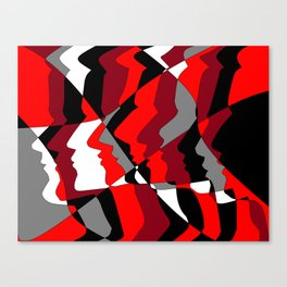 Profiles in Red, Maroon, Black, Gray and White Canvas Print