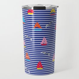 Sailboats on Stripes Travel Mug