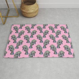 Pink Watercolor Manatee Pattern Rug
